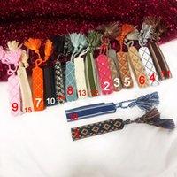 schnüren sich armband großhandel-Hot Brand Modeschmuck Für Frauen Baumwolle Brief Unterschrift Stickerei Armband Woven Bangle Quaste Lace-up Armband
