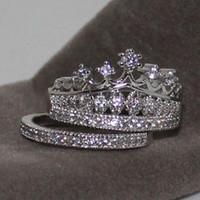 natürliche saphirringe großhandel-2-in-1 Exquisite Damen Natural White Sapphire Ring ZC Birthstone Schmuck Braut Hochzeit Verlobungskrone Ring Set Größe 5-12