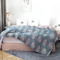 cobertor de verão de bambu venda por atacado-Junwell Bamboo Cotton Muslin Verão cama manta Capa Sofa viagem respirável Chic grama Tópico cobertor grande lance macio