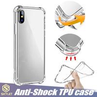 samsung case al por mayor-Estuche blando TPU transparente para iPhone 7/8 Plus XR XS MAX Funda antivueltas Huawei P20 Lite Oneplus 6 Tramsparent Funda protectora de parachoques con airbag de TPU a prueba de golpes