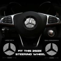 logos de coche para volante al por mayor-Calcomanías de la etiqueta engomada del emblema del diamante del logotipo del centro del volante de 45 mm o 49 mm para Mercedes Benz