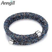 Wholesale accessoires bracelets for sale - Group buy ANNGILL Crystal Stone Charms Bracelet Double Layer Bracelets Bangles Crystal From SWAROVSKI Wedding Jewelry Womens Accessoires