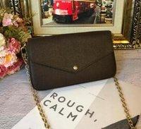 drei stücke design großhandel-Top Marke Felicie Bag Frauen Monog Design Drei Stück Hochwertige Echtleder Handtasche Dame Allgleiches Schulter Ketten Taschen