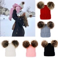Wholesale newborn babies skull caps resale online - Knitting Warm Hats Winter Beanie Hats Mom And Baby Family Matching Outfits Newborn baby Double fur Ball pop Crochet Hats ZZA832