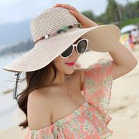 große elegante strohhüte großhandel-2019 Sommer Strandhüte Für Frauen Mode Breite Krempe Strohhüte Große Floppy Sun hut im freien Damen Elegante kopfschmuck solide sunhat Caps