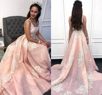 Wholesale strap back gown for sale - Group buy Pink Evening Dresses Arabic A Line Appliqued Spaghetti Strap Prom Gowns Sweet Quinceanera Dress Plus Size BC2458