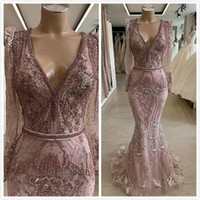 Wholesale formal prom african dresses resale online - 2020 Modest Lace Beaded African Dubai Masquerade Prom Dresses Long Sleeves Deep V neck Mermaid Evening Dress Vintage Sexy Formal Party Gowns