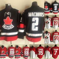 ingrosso hockey canada-Maglie Vintage Canada Team 2 Al Macinnis 12 Jarome Iginla 91 Joe Sakic 88 Eric Lindros 19 Steve Yzerman 66 Mario Lemieux Maglie Hockey