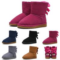 Wholesale cowboy rubber resale online - Cheaper Designer Kids Boots WGG Australian Snow Winter Boots Bailey Bow Children Girl Boy Triple Black Pink Khaki Ankle Booties
