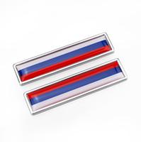 insignias peugeot al por mayor-Rusia China Bandera Aleación de zinc Etiqueta autoadhesiva Etiqueta emblema Emblema del coche estilo [58x14mm] adecuado para Peugeot más marca