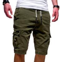 siyah pamuklu rahat pantolon erkekler toptan satış-Erkek Diz Boyu Düz Renk Spor Kargo Şort Erkekler Siyah Yeşil Rahat Pamuk Gevşek Şort Erkek Ince Kısa Pantolon