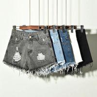 pantalones cortos de mezclilla sexy para mujer al por mayor-2019 nuevas mujeres sexy de cintura alta borla ripped jeans de gran tamaño pantalones cortos de mezclilla de verano c19041201