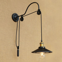 Wholesale vintage iron wall lamp resale online - Black retro vintage adjustable pulley iron glass long wall lamps E27 LED wall lights sconce for bathroom bedroom living room