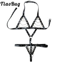ingrosso bdsm bras-TiaoBug Donne Sexy PU Catene in pelle Body Chest Harness Crotchless Halter Cage Bra Upper Body Belt Regolabile Porno BDSM Bondage