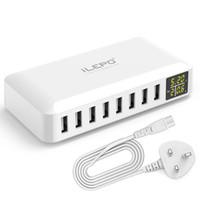 ноутбуки samsung оптовых-Зарядное устройство Великобритании iLEPO Смарт 8 портов USB штепсельной вилки США ЕС зарядное устройство Портативный Wall Fast зарядная станция с LED-дисплей для телефона ноутбука Retail-Box