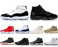 erkekler için serin basketbol ayakkabıları toptan satış-2020 Kid 11 Gym Kırmızı Platin Ton Basketbol Ayakkabı Prom Night Concord Space Jam Reçeller Legend Gama Mavi 11s Gri Men Bred Soğuk