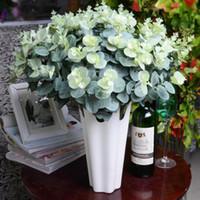 yapay yeşillik çiçeği toptan satış-16 Kafaları Yapay Sahte Yaprak Okaliptüs buket Bırakın Ipek Yapay Yapraklar Ev Dekorasyon DIY Çiçek Bitki Sahte Yeşillik Toptan