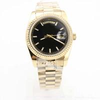 наручные часы оптовых-Роскошные мужские часы 36 мм золото 18 карат текстуры циферблат DATEDAY черный циферблат Сапфир зеркало головки с раскладывающейся пряжкой