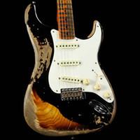 guitarra de cor preta venda por atacado-Masterbuilt Custom Shop 1957 Ash Corpo Pesado Relíquia Preto sobre 2 Cores Sunburst Guitarra Elétrica