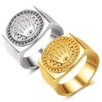 goldlegierungsweinlese großhandel-Hip Hop Crown Ringe Silber Vergoldet Rock Ringe Znic Alloy Vintage Ringe für Mann Frau Geschenke Parteibevorzugung