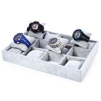 ingrosso la scatola dei monili si affollò-2016 Nuovo 12 Grids Grigio Flocking Watch Case Jewelry Display Box boite montre