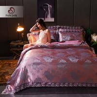 seide tencel großhandel-ParkShin Jacquard Bettwäsche Set Luxus Europäischen Bettwäsche Baumwolle Tencel Silk Bettdecke Double Queen Bettbezug Set Decor Schlafzimmer