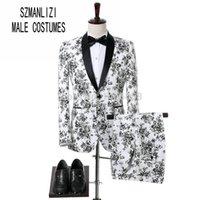 chal vestido de fiesta blanco al por mayor-Últimos diseños de pantalón de abrigo 2018 vestido a medida para hombre chaqueta de fumar chal solapa blanco smoking vestido de novio traje de boda para hombre