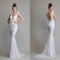 pnina tornai beyaz elbiseler toptan satış-2020 Beyaz Dantel Mermaid Gelinlik vestidos de novia Derin V Boyun Çiçek Aplikler Gelin Törenlerinde Pnina Tornai Plaj Gelinlikler