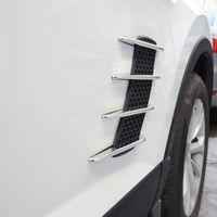хромированные решетки оптовых-2 шт. акула жабры стайлинга автомобилей внешняя сторона 3D Vent воздушный поток крыло хром ABS наклейка наклейка автомобиль грузовик наклейки