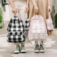 koreanisch schulranzen-set großhandel-Plaid Korean Fashion Rucksack Für Teenager Mädchen Student Leinwand Plaid Rucksäcke Schultaschen Für Weibliche Frauen Reise Set Rucksack