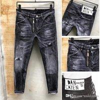 ingrosso vestito in denim europeo-pantaloni moda europea strada lavato e vestito di jeans denim Motociclista Uomini marchio di moda Designer Hip Hop Jeans Uomo