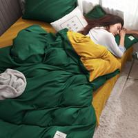 ingrosso set di biancheria da letto di colore giallo-Completo letto verde e giallo Completo lenzuola Completo copripiumino in cotone tinta unita Federa Set biancheria da letto matrimoniale per re
