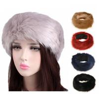 ingrosso fascia invernale della pelliccia del faux-New Women Faux Fur Headband Winter warm Nero Bianco Natura Girls Ear Warmer Ear Muff Fashion