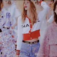 ingrosso linee verticali abiti-2018S New Fall Women Felpa con cappuccio Ricamo lettera Felpe Pullover maglione lavorato a maglia Tops Short cardigan