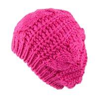 ingrosso cappelli rossi a crochet per i ragazzi-Cappello di lana lavorato a maglia 8 colori delle donne di inverno caldo della ragazza di cavo Red Knit Crochet cappello grigio intrecciata Baggy Beret Beanie