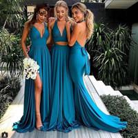 robes de demoiselle d'honneur d'été bleu bébé achat en gros de-Robes de demoiselle d'honneur sirène bleu turquoise côté longue robe de soirée de mariage Sexy Backless 2019 col en V demoiselle d'honneur robes