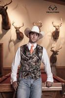 Wholesale mens formal ties for sale - Group buy Vintage Camo Groom Vests Hunter Country cowboy Wedding Realtree Spring Camouflage Mens Attire Vest piece set Vest Tie Custom Made