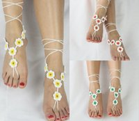 Wholesale barefoot toes anklet for sale - Group buy Cheap Lady Lace Barefoot Sandals Beach Wedding Anklet Sexy Delicate Lace Applqiues Open Toe Ankle Flat Bridal Shoe For Summer