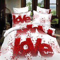 edredão de casamento princesa venda por atacado-EsyDream Wedding Love Rose conjuntos de cama King Size, Red Rose Rainha edredon cobrir casamento da princesa Tamanho, Twin tamanho Grils Folha de cama
