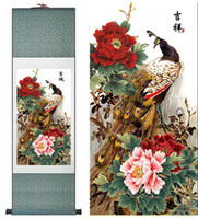 pinturas de seda al por mayor-Pintura de seda de pavo real Pintura de Arte de Seda Tradicional China Pinturas de flores Salón Arte Impreso Pintura