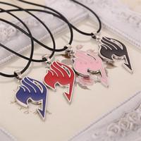 collar de cola de hada al por mayor-Fairy tail collar guild logo tatuaje colgante anime cuerda de cuero para hombres mujeres joyería venta al por mayor Anime collar