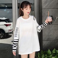 футболка с джаз-танцем оптовых-Daily Fashion Round Neck Casual Letter Spring Hip Hop Tops Women T Shirt Party Dance Polyester Jazz Long Sleeve