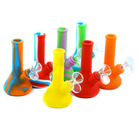 Wholesale mini water smoking tobacco pipe resale online - New unbreakable mini beaker bong mm mm silicone water pipe smoking bong beaker pipe Dab Rig with glass bowl smoking tobacco Heady wax O