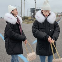 chaquetas coreanas venden al por mayor-Vendedora caliente del cuello de la piel Down Jacket Parka 2019 Nueva largo señoras del algodón Versión coreana con capucha grande bolsillo de la capa caliente Streetwear