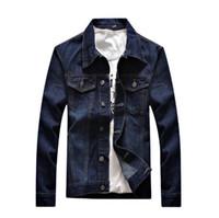 chaqueta de moda asiática de los hombres al por mayor-Hombres chaqueta Primavera Moda Otoño Hip Hop Casual hombres de las chaquetas de mezclilla manga larga fina capa tamaño asiático M-3XL