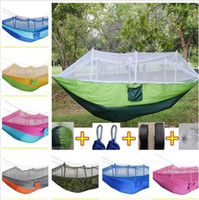 Wholesale portable swings resale online - Hammock Outdoor Double person Parachute Portable Handy Fabric Mosquito Net Field Hiking Camping Tent Garden Swing Hanging Bed E471