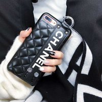 Wholesale iphone rubber skin black for sale - Luxury Phone Case for IPhone X Fashion Paris Show Classic Rhombus Lattice Wristband Leather Phone Back Cover for IPhone plus plus