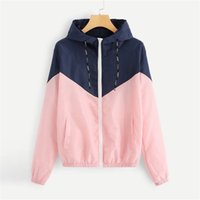 Wholesale jackets women for sale – winter Fashion Womens Designer Jackets Patchwork Hooded Jackets Spring Autumn Womens Coats with Zipper