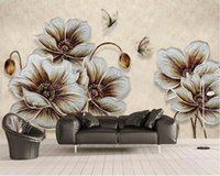Wholesale three dimensional wallpapers resale online - Flower wallpaper D three dimensional golden flowers butterfly background wall living room bedroom decorative d wallpaper