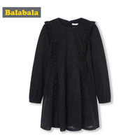 joelho comprimento vestidos para adolescentes venda por atacado-Balabala Meninas Ruffled Glittery Vestido de Manga Comprida A Linha de Vestidos na Altura Do Joelho Adolescente Meninas Flare Vestido de Festa de Casamento Vestidos